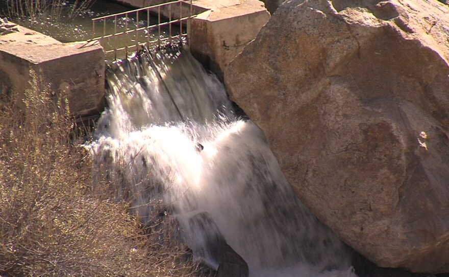 Water flows from Lake Morena's dam into a creek, which it follows for about 7 miles to Barrett Reservoir.