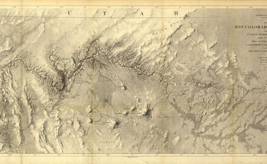 """A map produced by the U.S. War Department, labels the Grand Canyon as the """"Big Cañon of the Colorado,"""" 1858."""