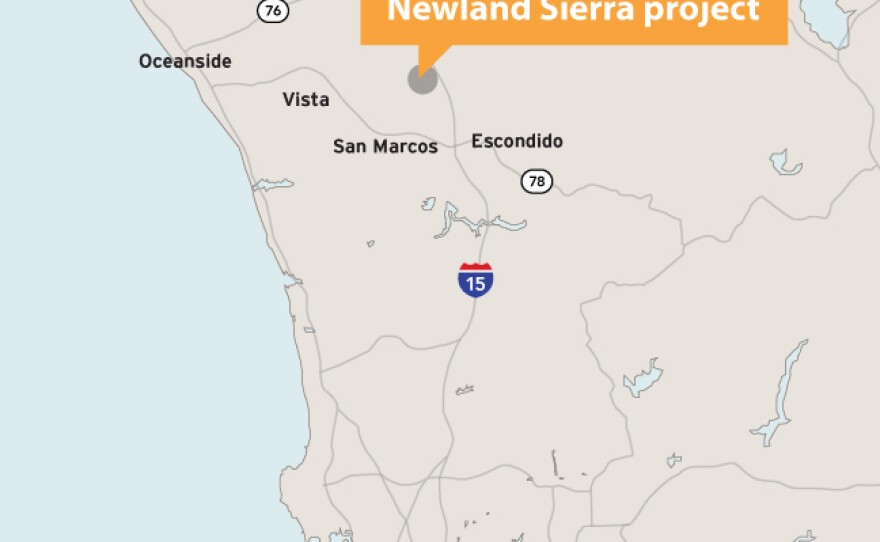 The location of the Newland Sierra project is shown on this map.