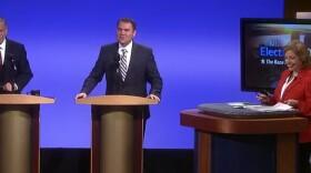 Congressman Bob Filner and City Councilman Carl DeMaio square off at the KPBS mayoral debate on Oct. 1, 2012.