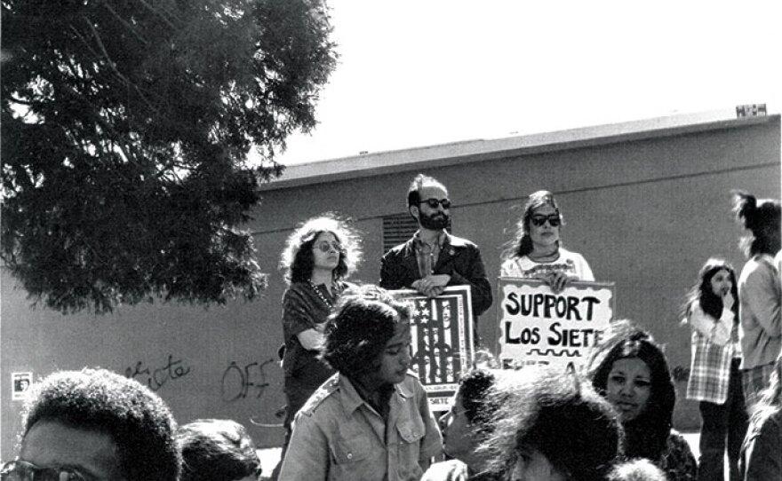 Yolanda López at a rally for Los Siete de la Raza in San Francisco's Highland Park in 1969.