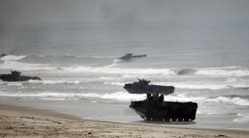 Amphibious assault vehicles storm Red Beach during exercises Friday June 2, 2010 at Camp Pendleton, Calif.