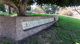 The entrance of the San Diego City College campus is shown on May 4, 2020.