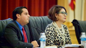 San Ysidro School District Board President Rosaleah Pallasigue and Board Member Antonio Martinez listen to public comment during a recent school board meeting, Oct. 12, 2017