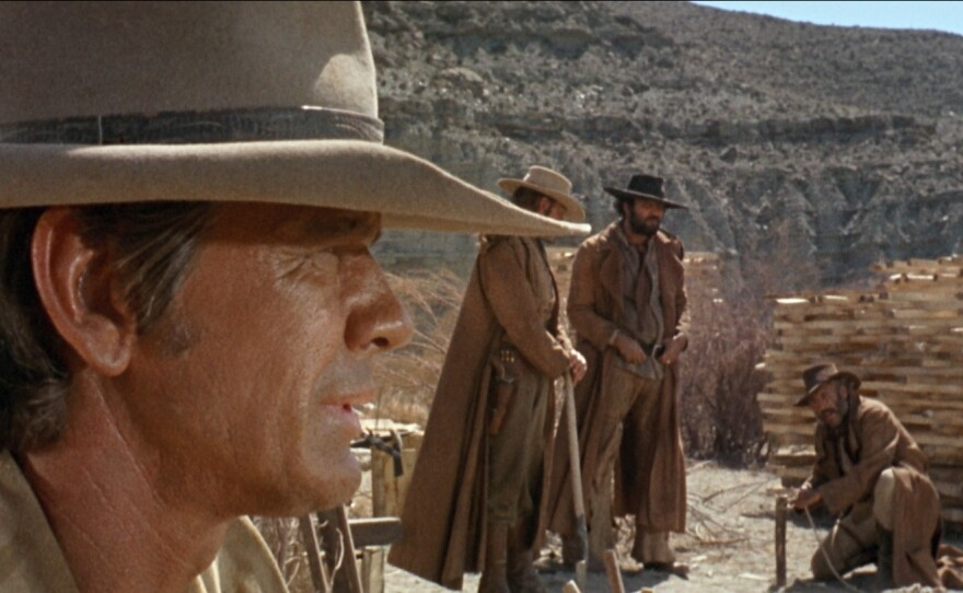 """Sergio Leone's """"Once Upon a Time in the West"""" (screening Oct. 11 as part of the They Call Me Sergio Film Program) displays great use of depth of field and composition as all of Leone's spaghetti westerns revel in. Pictured here is Charles Bronson as the character referred to as Harmonica."""