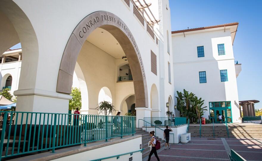 Students walk by Conrad Prebys Aztec Student Union at San Diego State University, Sept. 24, 2016.