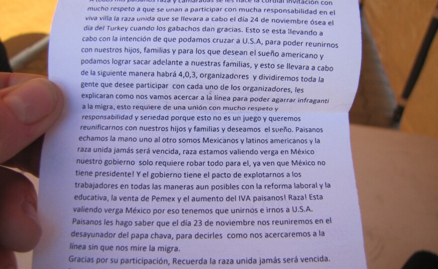 """""""So that we can reunite with our children, families,"""" the flier read in small, Spanish text. """"And for those who want the American dream and so that we can help our families succeed,"""" the flier continued in rambling fashion, ending with a call for discretion and """"Sí se puede!"""" written three times."""