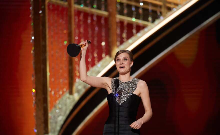 Hildur Guðnadóttir accepts the Oscar® for Original Score during the live ABC Telecast of The 92nd Oscars® at the Dolby® Theatre in Hollywood, CA on Sunday, February 9, 2020.
