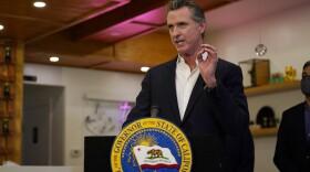 Gov. Gavin Newsom speaks at Hanzo Sushi Thursday, April 29, 2021, in San Fernando, Calif.