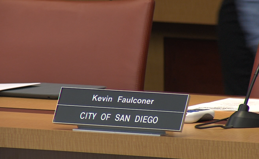 San Diego Mayor Kevin Faulconer's name plate rests on the table in the SANDAG board room, April 29, 2016.