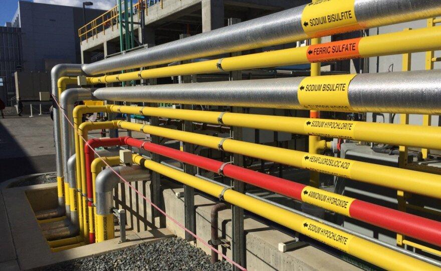 Pipes at the Carlsbad Desalination Plant, Dec. 14, 2015.