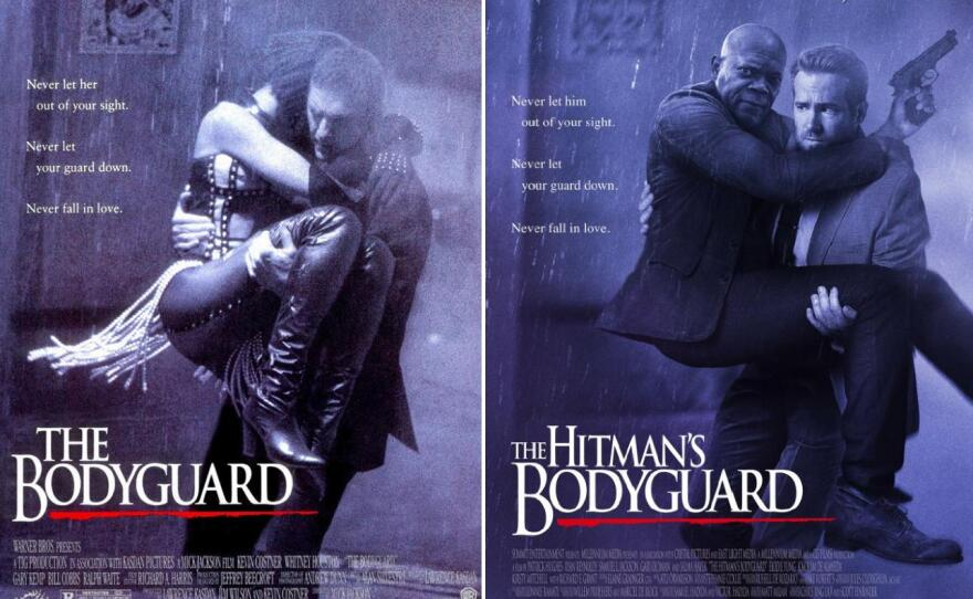 """A comparison of the posters for """"The Bodyguard"""" (1992) and """"The Hitman's Bodyguard."""""""