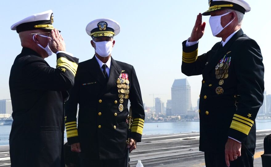 Vice Adm. DeWolfe Miller is properly relieved by Vice Adm. Kenneth Whitesell as Commander, Naval Air Forces and Commander, Naval Air Forces Pacific during a change of command ceremony aboard USS Theodore Roosevelt at Naval Air Station North Island Oct. 2, 2020.