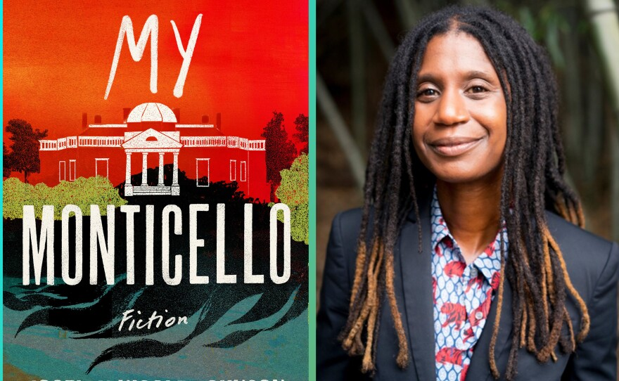 Author Jocelyn Nicole Johnson alongside the cover of her new book, <em>My Monticello.</em>