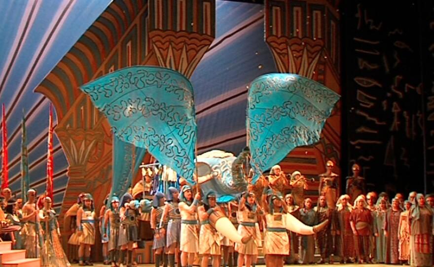 """Zandra Rhodes' stylized elephant for """"Aida."""""""