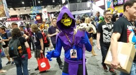 Skeletor searches for his arch-nemesis He-Man within the throngs of people at Comic-Con International, cosplay by Owen Berry. July 21, 2017