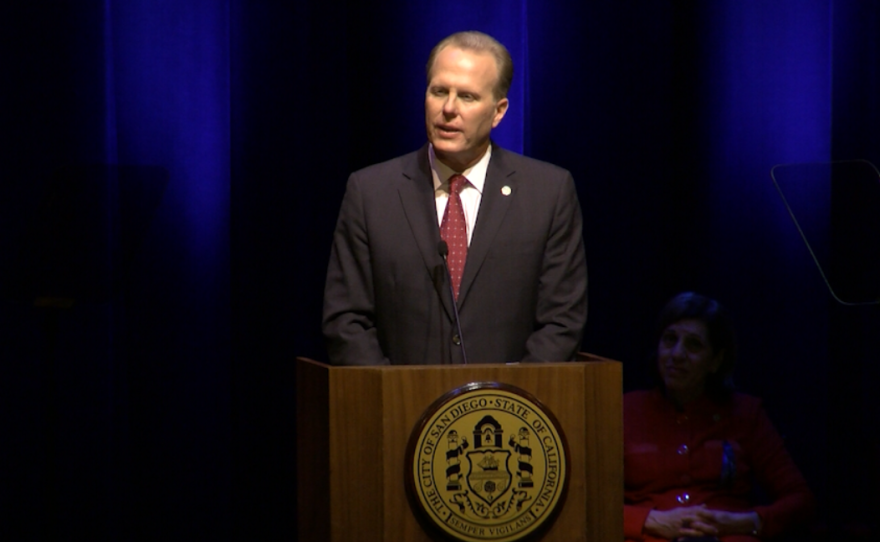 San Diego Mayor Kevin Faulconer delivers his State of the City address, Jan. 12, 2017.