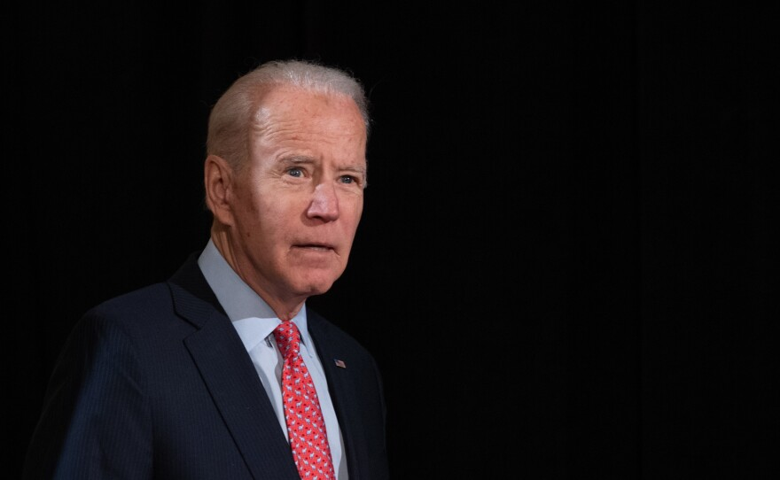 Former vice president and Democratic presidential hopeful Joe Biden, seen arriving to give a speech about the coronavirus response on March 12, spoke with President Trump about the crisis on Monday.