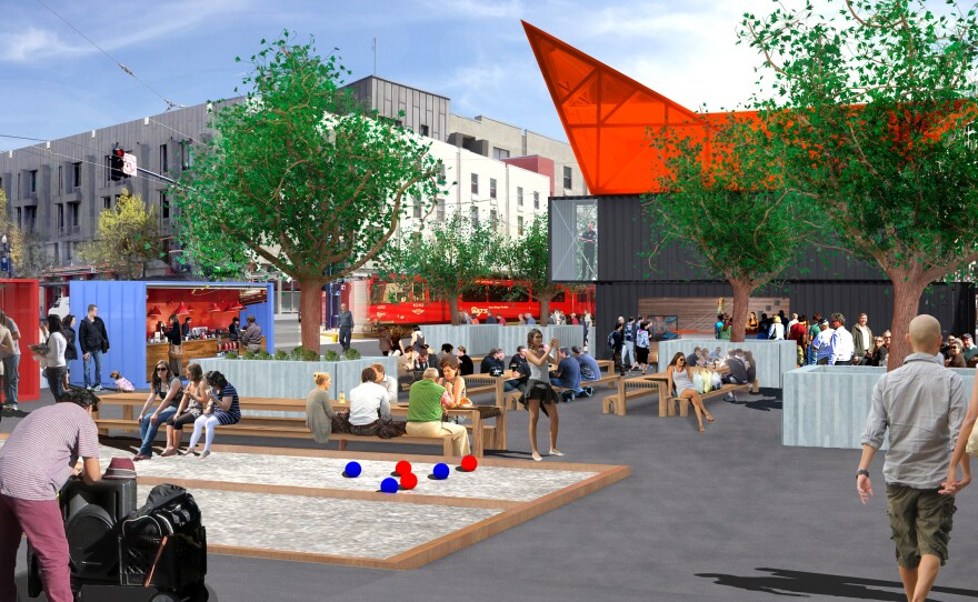The NewSchool team's design for a temporary urban park in the East Vilalge.