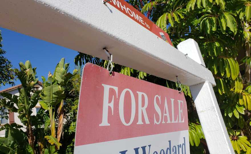 A for sale sign in from of a home in Chula Vista on April 16, 2020.