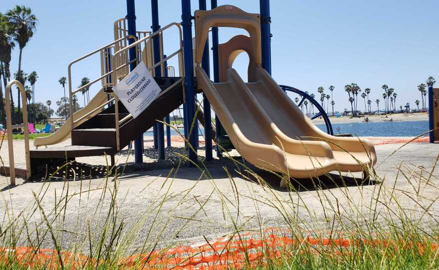 A playground is unused and closed due to the COVID-19 pandemic in Mission Bay Park, July 3, 2020.