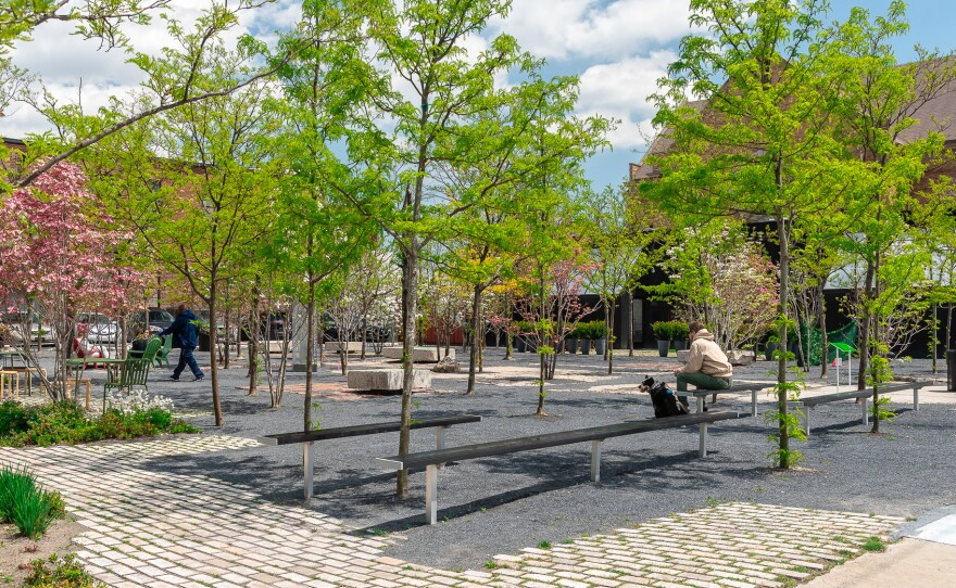 A desolate parking lot filled with weeds and debris was transformed into Core City Park in Detroit, MI. Nearly everything used in the construction of the park was found on site - the benches, for example were recycled from old concrete walls.