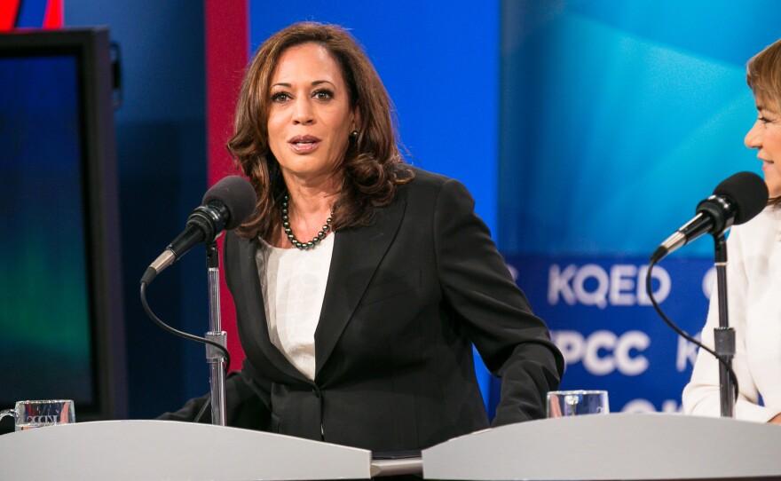 California Attorney General Kamala Harris at a U.S. Senate debate at KPBS in San Diego, May 10, 2016.