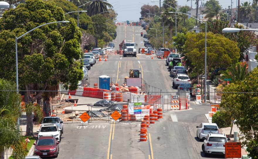 Road work on Meade Avenue in San Diego's University Heights neighborhood  is shown on April 28, 2020.