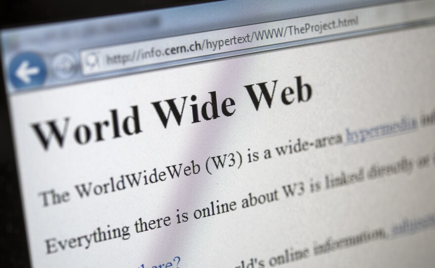This picture taken on April 30, 2013 in Geneva shows a 1992 copy of the world's first web page.
