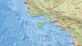 The epicenter of a magnitude-5.3 earthquake is shown, April 5, 2018.