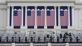 Preparations are made prior to a dress rehearsal for the 59th inaugural ceremony for President-elect Joe Biden and Vice President-elect Kamala Harris on Monday, January 18, 2021 at the U.S. Capitol in Washington.
