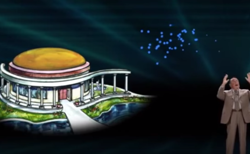 In a screenshot from a 2012 YouTube video, televangelist Morris Cerullo announces his proposed Legacy International Center for San Diego's Mission Valley.