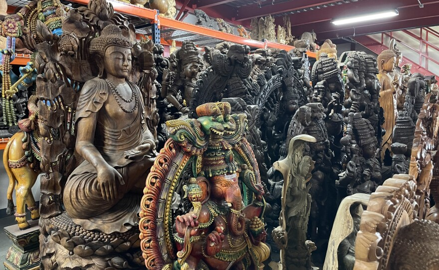 Pictured, Buddhist and Hindu sculptures for sale at Lotus Sculpture in Oceanside. July 1, 2021.