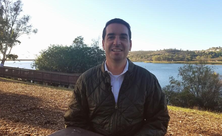 San Diego City Council District 5 candidate Joe Leventhal speaks at Lake Miramar, Dec. 9, 2019.