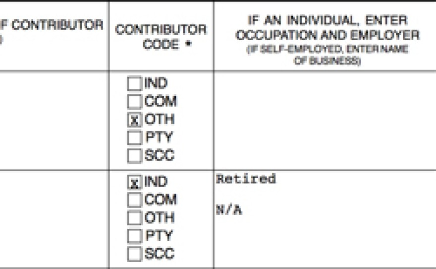 """Section of the online Form 460 for the Bonnie Dumanis PAC, """"San Diegans for Bonnie Dumanis for Mayor 2012, Sponsored by Airsam N492RM, LLC."""""""