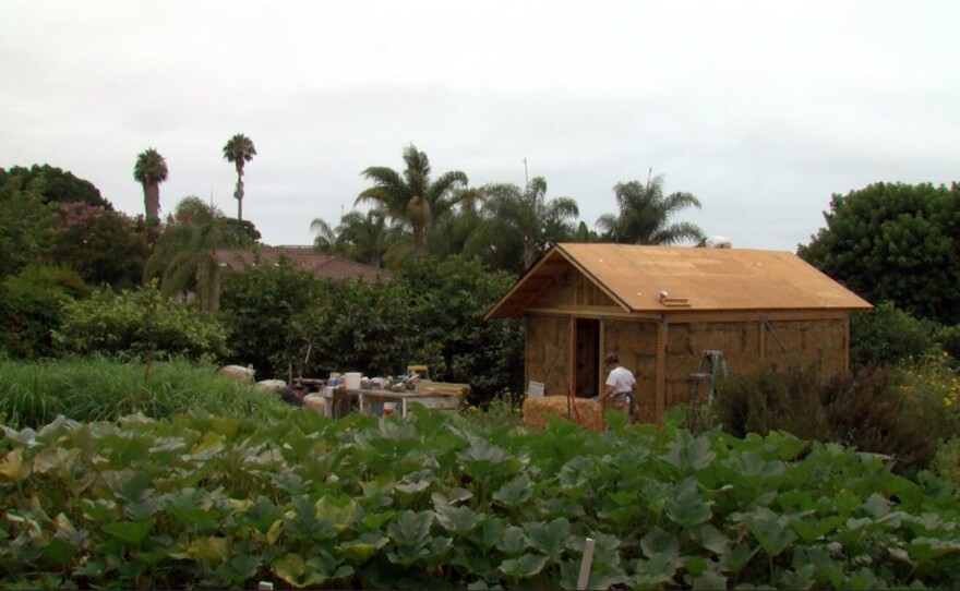 A straw bale house under construction at Coral Tree Farm in Encinitas, July 29, 2017.