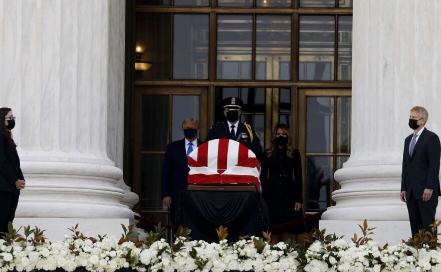 President Trump and first lady Melania Trump pay their respects to the late Justice Ruth Bader Ginsburg as she lies in repose at the U.S. Supreme Court.