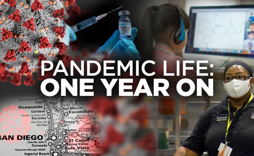 The KPBS Pandemic anniversary graphic is pictured in this undated image.