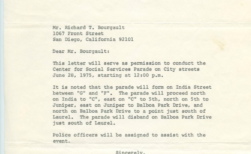 The permit for the first San Diego Pride in 1975 is shown in this undated photo.