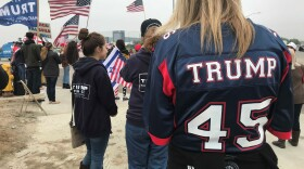 Protesters gather in Otay Mesa demonstrating their support for President Donald Trump as he visits the border wall prototypes, March 13, 2018.