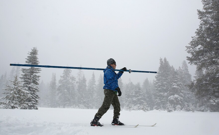 Snow falls as John King of the Department of Water Resources, crosses a meadow while conducting the third manual snow survey of the season at the Phillips Station near Echo Summit, Calif., Thursday, Feb. 28, 2019.