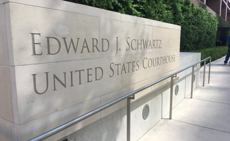 The sign outside of the Edward J. Schwartz U.S. Courthouse in downtown San Diego, August 23, 2018.