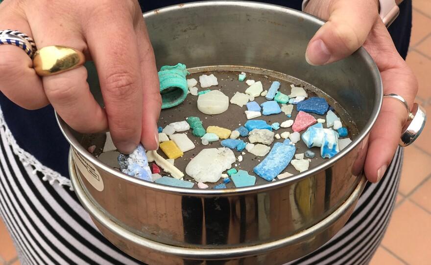 Jenni Brandon, a researcher at Birch Aquarium, showcases some of the microplastics she's collected, June 4, 2019.