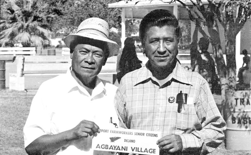Delano grape growers strike leader Bob Armington poses with Cesar Chavez, 1966.