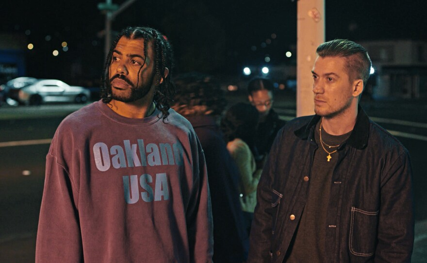 """Collin (Daveed Diggs) try to make it through his last 72 hours of probation but his friend Miles (Rafael Casal) is making it tough in Carlos Lopez Estrada's """"Blindspotting."""""""