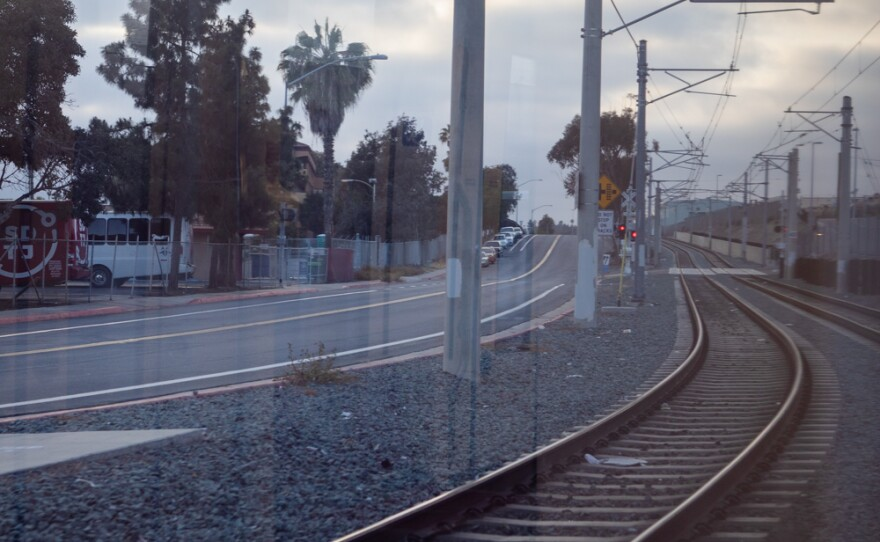 The tracks of the Blue Line are seen from inside a trolley heading towards downtown San Diego, June 1, 2021.