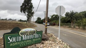 A sign on the edge of the land in Oceanside where the North River Farms development is proposed, May 23, 2019.