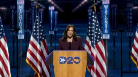 Democratic vice presidential candidate Sen. Kamala Harris, D-Calif., speaks during the third day of the Democratic National Convention, in Wilmington, Del.