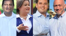 Christian Ramirez, from left, Vivian Moreno, Antonio Martinez and Zackary Lazurus — vying to replace termed-out council member David Alvarez — are seen in these undated photos.