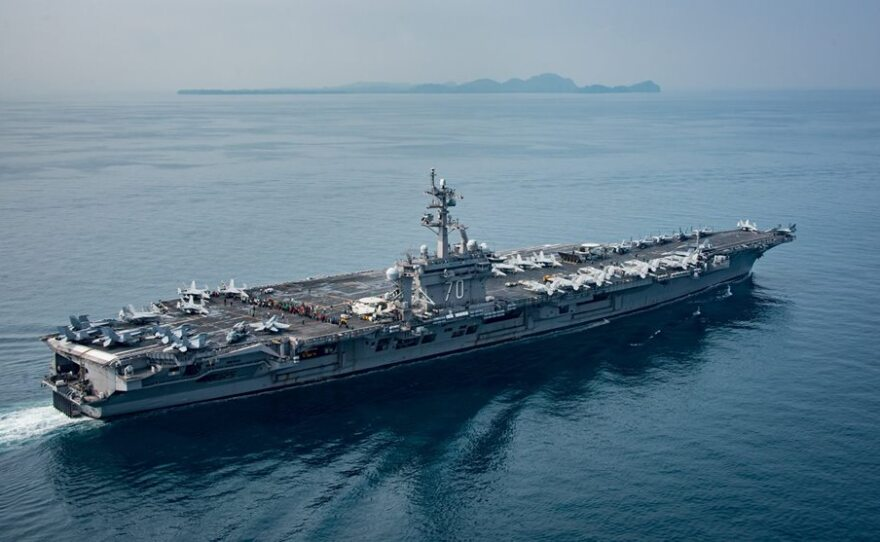 This undated photo shows the USS Carl Vinson at sea.